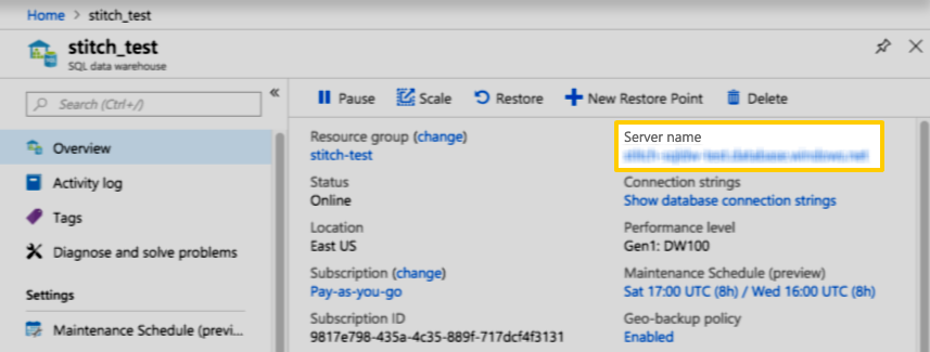 The Server name field for an Azure database, highlighted