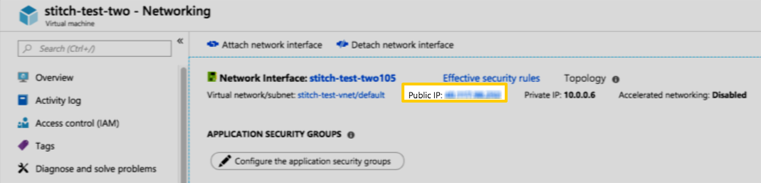 Virtual machine public IP address field
