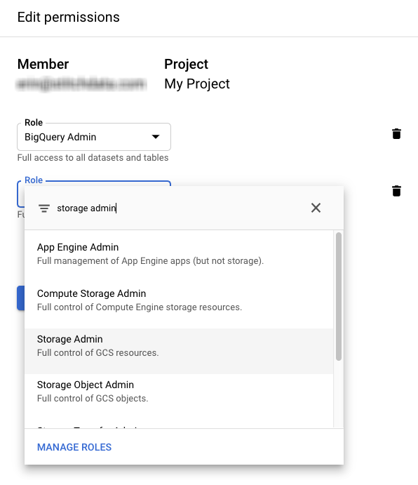 Assigning BigQuery Admin and Storage Admin permissions to a GCP user.