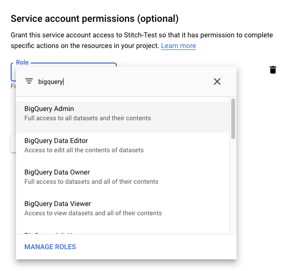 The service account role field with BigQuery Admin selected