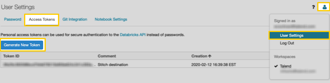 The Access Tokens tab in the User Settings page of Databricks