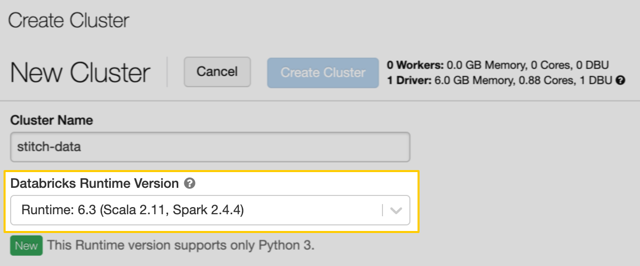 Databricks Runtime Version field with version Runtime: 6.3 selected