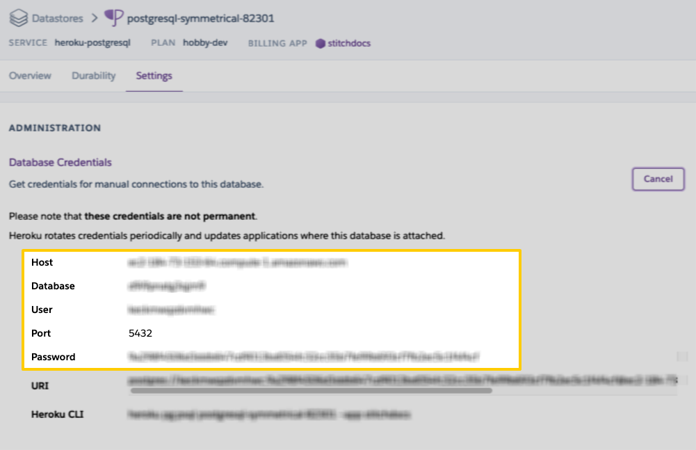Heroku Connection Settings