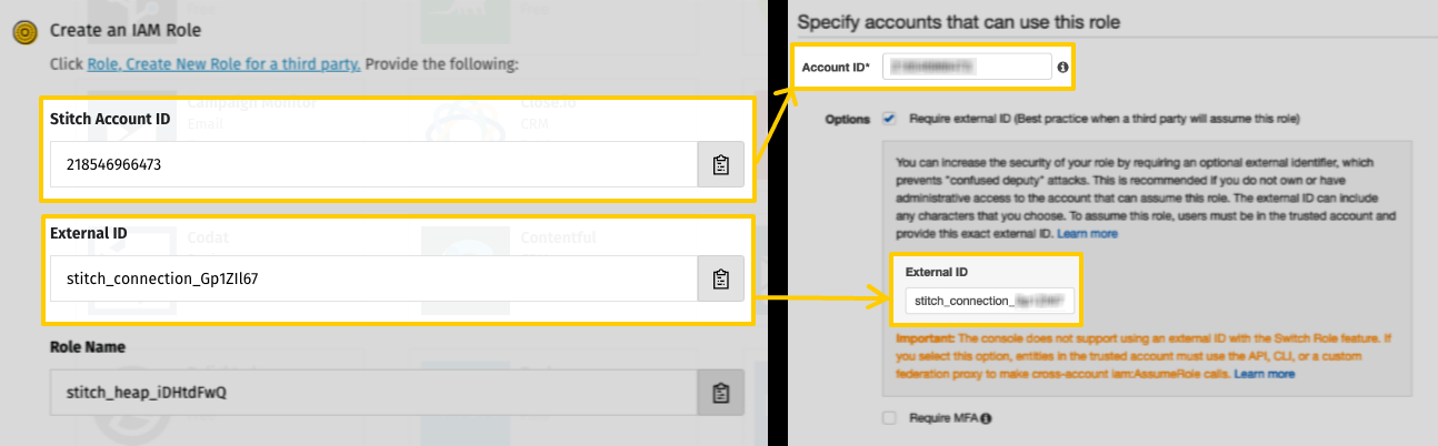 Account ID and External ID fields mapped from Stitch to AWS