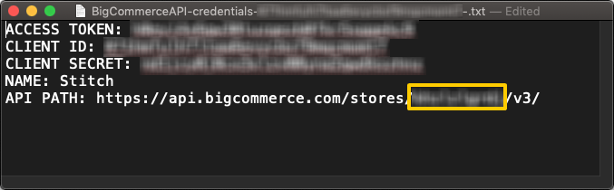 Click to enlarge. A BigCommerce API credentials text file. The store has portion of the API path is highlighted.