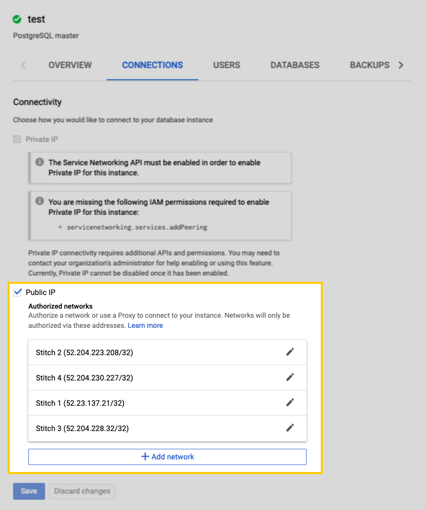 Connecting a Google CloudSQL PostgreSQL Destination to Stitch