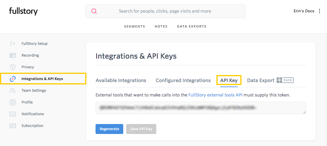 Retrieve your API key in FullStory