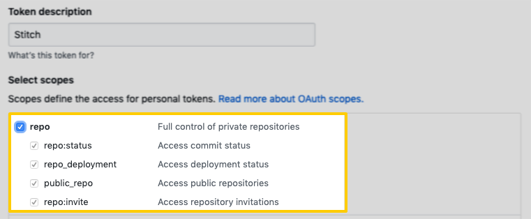 Highlighted repo scopes on the GitHub Personal Access Tokens page