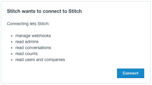List of permissions requested by Stitch to access Intercom