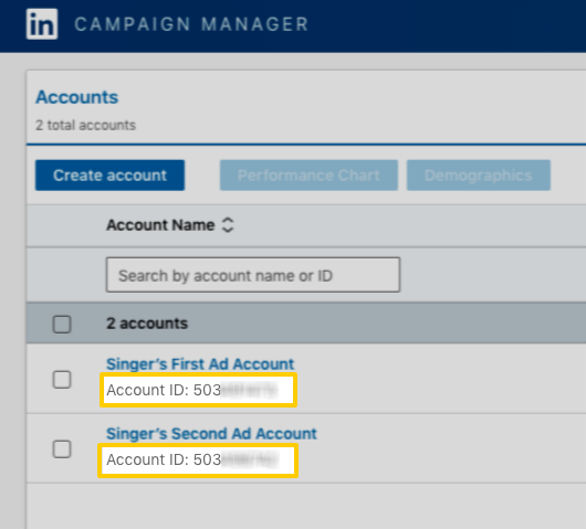 LinkedIn Ads account IDs highlighted in the Accounts table of the Campaign Manager page.