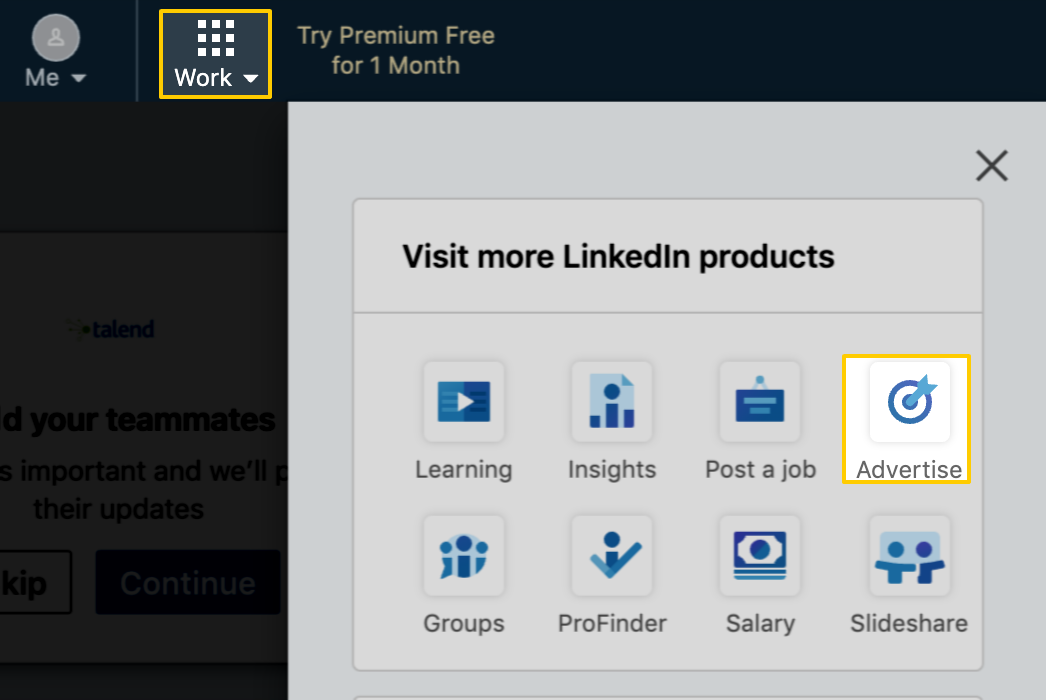 The LinkedIn Work and Advertise menus, highlighted