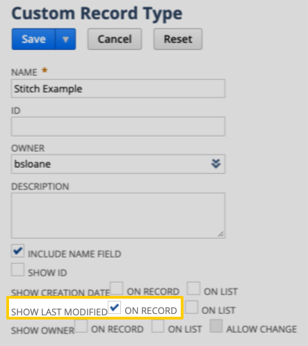 Highlighted  Show Last Modified field in NetSuite's Custom Record Type page