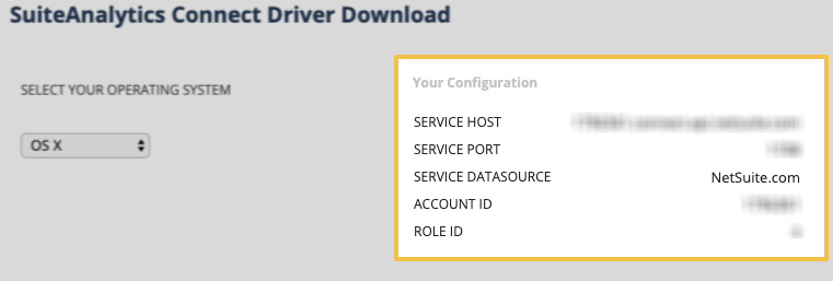The Your Configuration section of the Set Up SuiteAnalytics Connect page in NetSuite