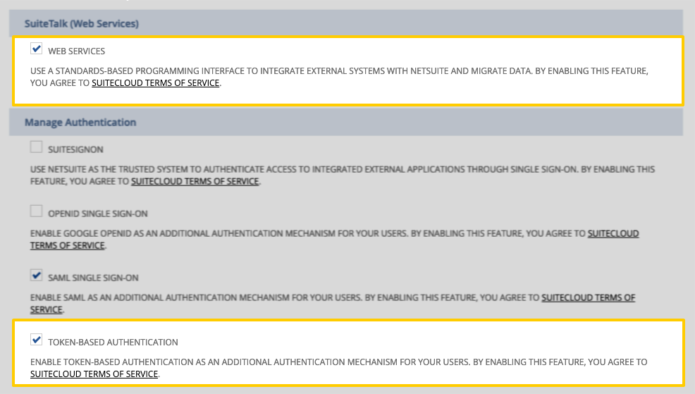 Highlighted Web Services and Token-based Authentication fields on the NetSuite Enable features page