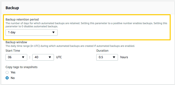 A backup retention period setting of 1 day for an RDS instance in the AWS console