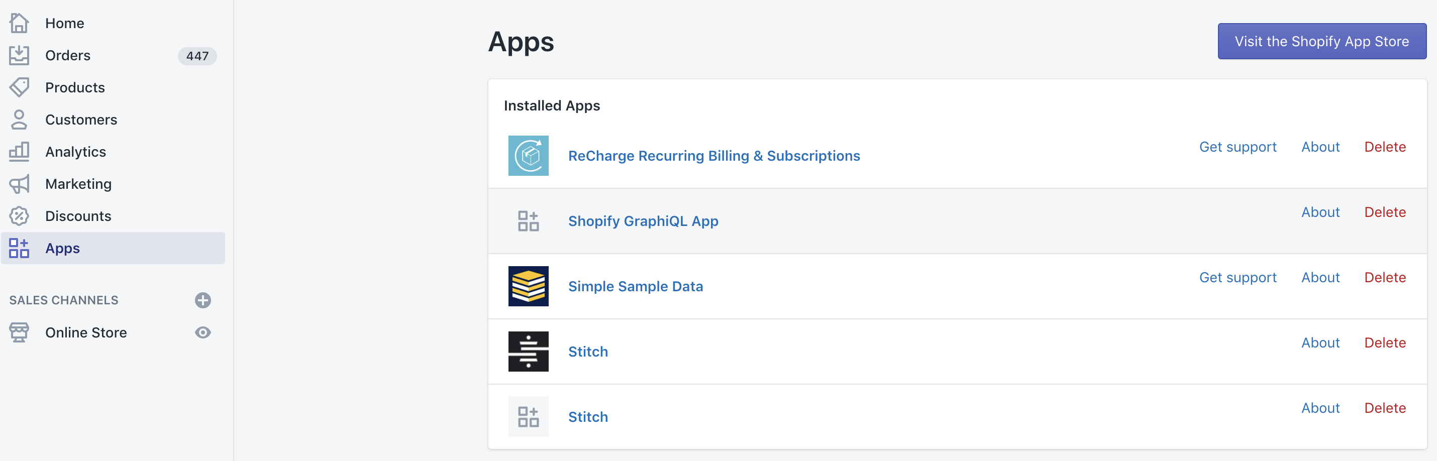 Shopify Apps page.
