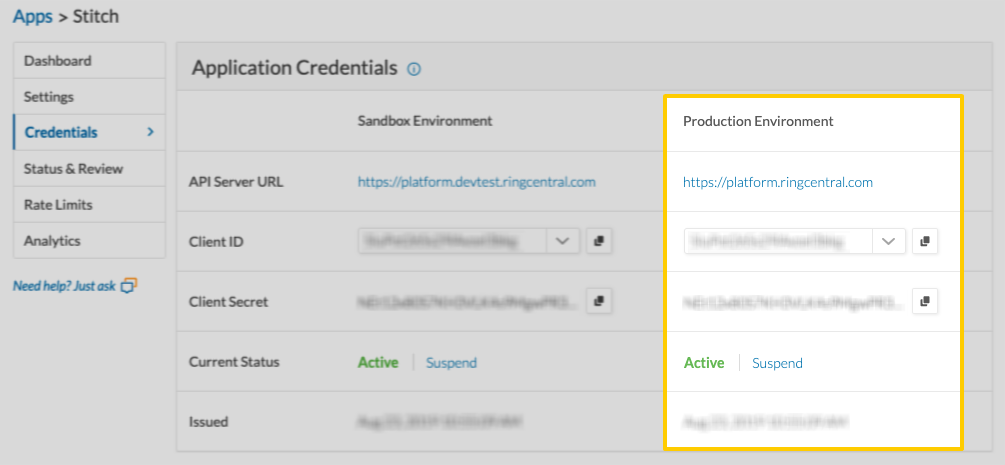 RingCentral Application Credentials page with the Production Environment column highlighted.