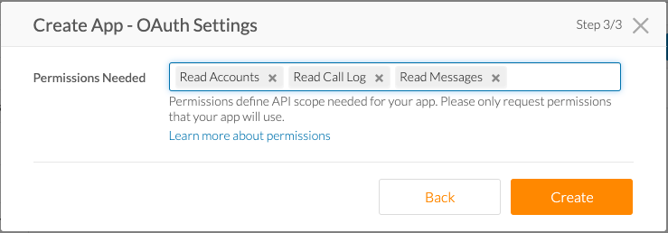 RingCentral OAuth Settings window for creating a developer app.