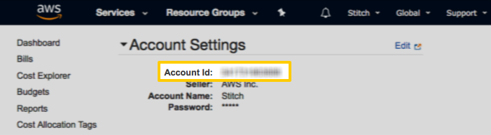 An AWS account ID, highlighted in the AWS Account Settings page