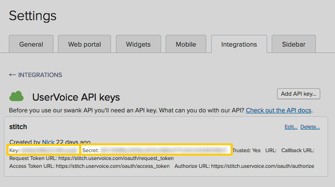 UserVoice UI with highlighted API key and API secret fields