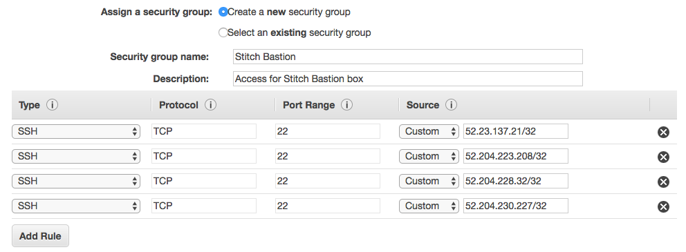 Configuring the EC2 Instance Security Group