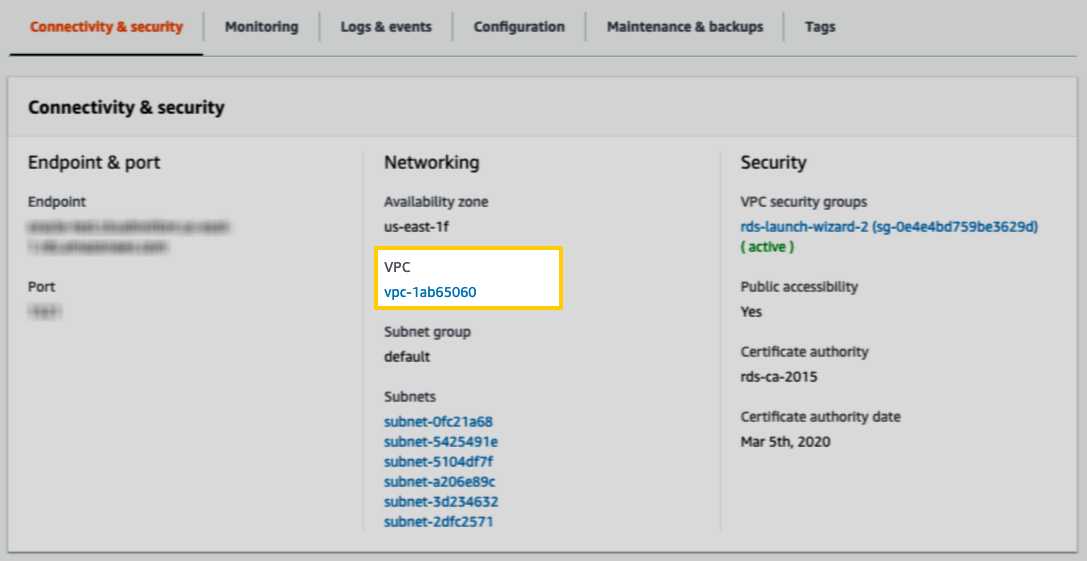 The VPC field in the Instance Details page in AWS