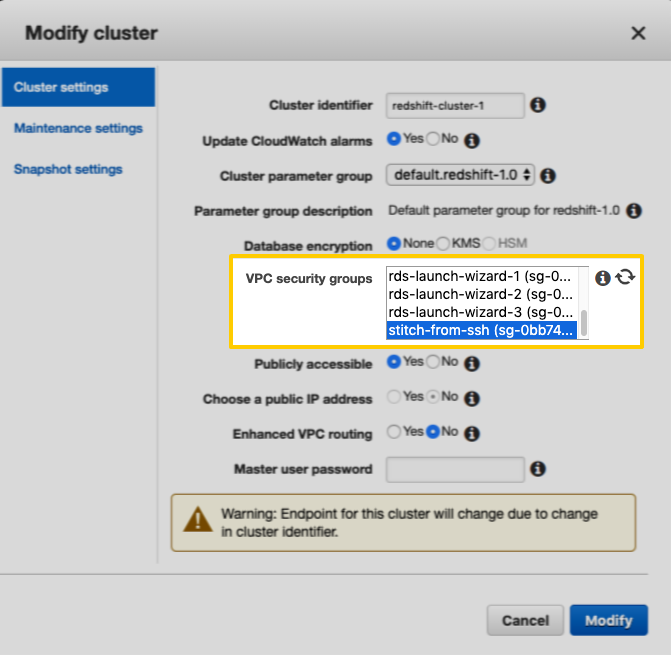 The VPC security groups field in the Modify Cluster window, highlighted